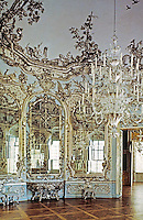 Mirror Salon in Amalienburg, a small pleasure palace and hunting lodge in Munich, Germany. 1734-39. Francois Cuvillies.Exquisite Rococo style.