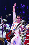 The Go-Go's: Jane Wiedlin performs during a special curtain call at Broadway's 'Head Over Heels' on July 12, 2018 at the Hudson Theatre in New York City.