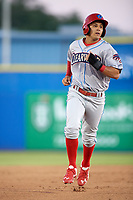 Clearwater Threshers Emmanuel Marrero (33) runs the bases during a game against the Dunedin Blue Jays on April 8, 2017 at Florida Auto Exchange Stadium in Dunedin, Florida.  Dunedin defeated Clearwater 12-6.  (Mike Janes/Four Seam Images)