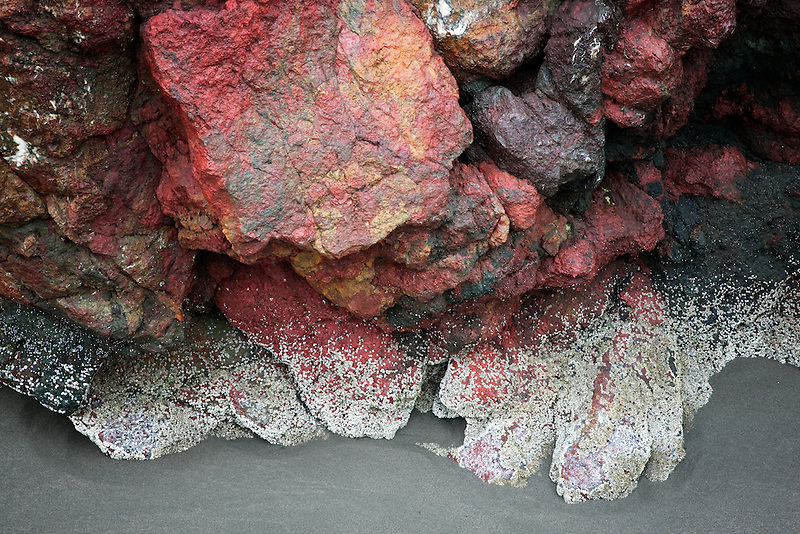 Close up of colorful seastack rocks and low tide at Cape Sebastion. Oregon