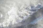 Franconia Notch State Park - Snow making at Cannon Mountain in the White Mountains, New Hampshire USA from Artists Bluff.