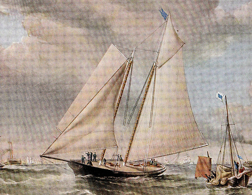 The beginning of a continuing chapter of sailing history. The schooner America crosses the line to win the race round the Isle of Wight on Friday August 22nd 1851