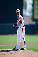 Baltimore Orioles starting pitcher Alex Cobb (17) gets ready to deliver a pitch during a Grapefruit League Spring Training game against the Tampa Bay Rays on March 1, 2019 at Ed Smith Stadium in Sarasota, Florida.  Rays defeated the Orioles 10-5.  (Mike Janes/Four Seam Images)