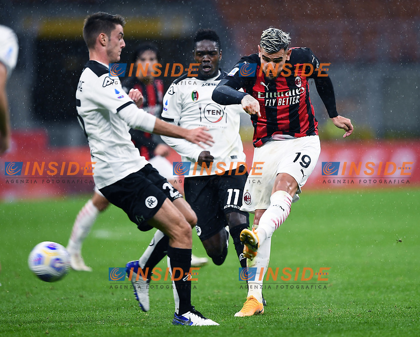 Theo Hernandez of AC Milan in action during the Serie A football match between AC Milan and Spezia Calcio at San Siro Stadium in Milano  (Italy), October 4th, 2020. Photo Image Sport / Insidefoto