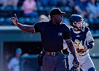 19 June 2018: MiLB Umpire James Jean works behind the plate during a game between the Vermont Lake Monsters and the Connecticut Tigers at Centennial Field in Burlington, Vermont. The Lake Monsters defeated the Tigers 5-4 in the conclusion of a rain-postponed Lake Monsters Opening Day game started June 18. Mandatory Credit: Ed Wolfstein Photo *** RAW (NEF) Image File Available ***