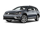 Stock pictures of low aggressive front three quarter view of 2017 Volkswagen Golf-Alltrack SEL 5 Door Wagon Low Aggressive