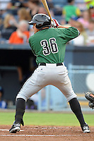 Augusta GreenJackets left fielder Andrew Cain #36 awaits a pitch during a game against the Asheville Tourists at McCormick Field on June 27, 2013 in Asheville, North Carolina. The Tourists won the game 10-6. (Tony Farlow/Four Seam Images)