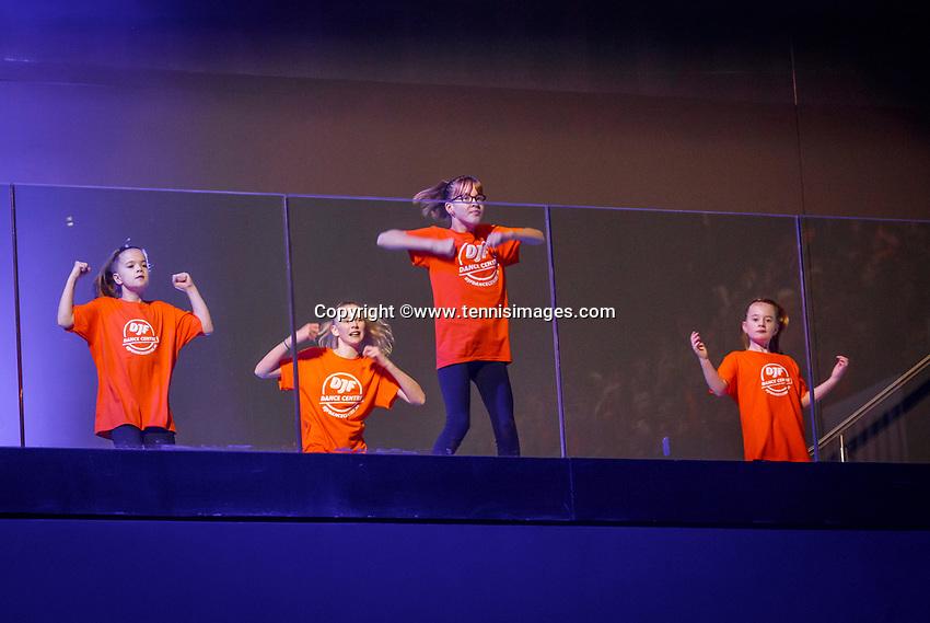 The Hague, The Netherlands, Februari 7, 2020,    Sportcampus, FedCup  Netherlands -  Balarus, Opening with dancers<br /> Photo: Tennisimages/Henk Koster