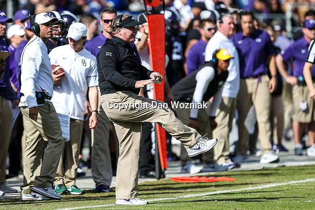 TCU Horned Frogs head coach Gary Patterson in action during the game between the Baylor Bears and the TCU Horned Frogs at the Amon G. Carter Stadium in Fort Worth, Texas.