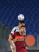 Football, Serie A: AS Roma - Fiorentina, Olympic stadium, Rome, November 1, 2020.   <br /> Fiorentina's Nikolas Milenkovic (top) in action with Roma's captain Edin Dzeko (bottom) during the Italian Serie A football match between Roma and Fiorentina at Olympic stadium in Rome, on November 1, 2020. <br /> UPDATE IMAGES PRESS/Isabella Bonotto