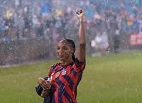 EAST HARTFORD, CT - JULY 1: Crystal Dunn #2 of the USWNT waves to fans during a game between Mexico and USWNT at Rentschler Field on July 1, 2021 in East Hartford, Connecticut.
