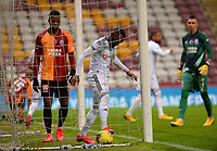 15th March 2020, Istanbul, Turkey;   Kevin Nkoudou of Besiktas clears the ball from the net watched by Ryan Donk of Galatasaray during the Turkish Super league football match between Galatasaray and Besiktas at Turk Telkom Stadium in Istanbul , Turkey on March 15 , 2020.