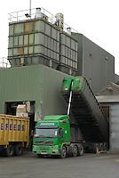 Unloading lorries at an animal feed plant...Copyright John Eveson 01995 61280..j.r.eveson@btinternet.com