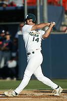 Matt Barket of the Tulane Green Wave bats during a 2004 season game at Goodwin Field in Fullerton, California. (Larry Goren/Four Seam Images)