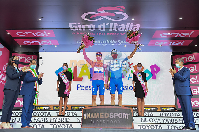 Deceuninck-Quick Step leading the team classification at the end of Stage 4 of the 103rd edition of the Giro d'Italia 2020 running 140km from Catania to Villafranca Tirrena, Sicily, Italy. 6th October 2020.  <br /> Picture: LaPresse/Gian Mattia D'Alberto | Cyclefile<br /> <br /> All photos usage must carry mandatory copyright credit (© Cyclefile | LaPresse/Gian Mattia D'Alberto)