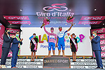 Deceuninck-Quick Step leading the team classification at the end of Stage 4 of the 103rd edition of the Giro d'Italia 2020 running 140km from Catania to Villafranca Tirrena, Sicily, Italy. 6th October 2020.  <br /> Picture: LaPresse/Gian Mattia D'Alberto   Cyclefile<br /> <br /> All photos usage must carry mandatory copyright credit (© Cyclefile   LaPresse/Gian Mattia D'Alberto)