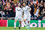 Marcelo Vieira Da Silva of Real Madrid (R) and Isco Alarcon of Real Madrid (L) celebrates during the UEFA Champions League 2017-18 quarter-finals (2nd leg) match between Real Madrid and Juventus at Estadio Santiago Bernabeu on 11 April 2018 in Madrid, Spain. Photo by Diego Souto / Power Sport Images
