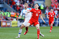 (L-R) David Hancko of Slovakia and Harry Wilson of Wales in action during the UEFA EURO 2020 Qualifier match between Wales and Slovakia at the Cardiff City Stadium, Cardiff, Wales, UK. Sunday 24 March 2019