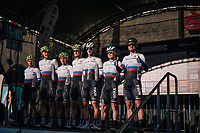 defending triple World Champion Peter Sagan (SVK/Bora-Hansgrohe) and team on the podium before the start<br /> <br />  MEN ELITE ROAD RACE<br /> Kufstein to Innsbruck: 258.5 km<br /> <br /> UCI 2018 Road World Championships<br /> Innsbruck - Tirol / Austria
