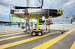 SEAir Mini 747<br /> The 6,50m long monohull, ground-breaking Magnum 747 prototype, designed and built by David Raison, was transformed into a flight demonstrator. It has been equipped with a portside foil with eight sensors and a control unit allowing to manoeuvre the foil.