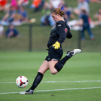 Morgan Stearns (0) of Virginia punts the ball during the game at Klockner Stadium in Charlottesville, VA.  Virginia defeated Maryland, 1-0.