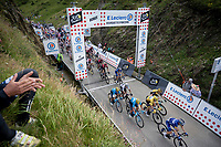yellow jersey / GC leader Julian Alaphilippe (FRA/Deceuninck - QuickStep) over the Horquette d'Ancizan<br /> <br /> Stage 12: Toulouse to Bagnères-de-Bigorre(209km)<br /> 106th Tour de France 2019 (2.UWT)<br /> <br /> ©kramon