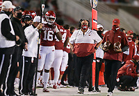 Arkansas head coach Sam Pittman looks on, Saturday, November 7, 2020 during the second quarter of a football game at Donald W. Reynolds Razorback Stadium in Fayetteville. Check out nwaonline.com/201108Daily/ for today's photo gallery. <br /> (NWA Democrat-Gazette/Charlie Kaijo)