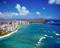 Aerial of Waikiki beach and coastline including Diamond Head, Oahu