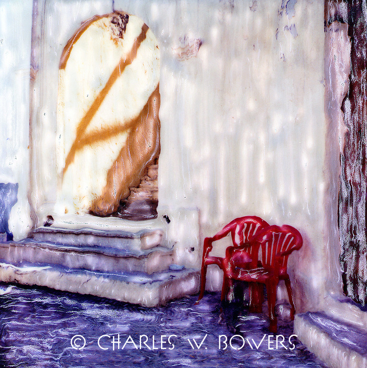 Folks like to site and people watch. Plastic chairs can be seen all over the world. Pull up a chair and let's watch and gossip.<br /> <br /> -Limited Edition of 50 Prints