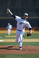Quinnipiac Bobcats relief pitcher Wyatt Hamilton (33) in action against the Radford Highlanders at David F. Couch Ballpark on March 4, 2017 in Winston-Salem, North Carolina. The Highlanders defeated the Bobcats 4-0. (Brian Westerholt/Four Seam Images)
