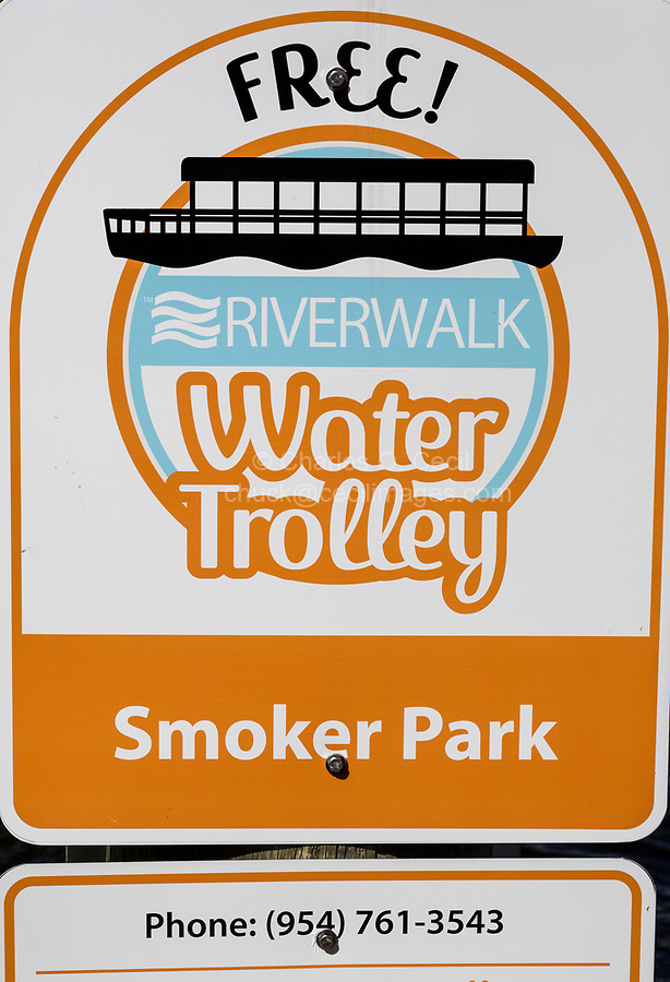 Ft. Lauderdale, Florida.  Stop Sign (Pick-up Point) for New River Water Trolley.
