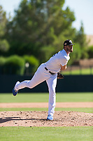 Glendale Desert Dogs relief pitcher Nolan Long (35), of the Los Angeles Dodgers organization, follows through on his delivery during an Arizona Fall League game against the Mesa Solar Sox at Camelback Ranch on October 15, 2018 in Glendale, Arizona. Mesa defeated Glendale 8-0. (Zachary Lucy/Four Seam Images)