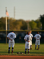 Braden River Pirates shortstop Ryan Waldschmidt (21) and second baseman Dylan McGarry (6) during the national anthem before a game against the Venice Indians on February 25, 2021 at Braden River High School in Bradenton, Florida. (Mike Janes/Four Seam Images)