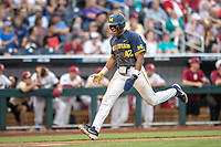Michigan Wolverines designated hitter Jordan Nwogu (42) heads towards the plate during Game 6 of the NCAA College World Series against the Florida State Seminoles on June 17, 2019 at TD Ameritrade Park in Omaha, Nebraska. Michigan defeated Florida State 2-0. (Andrew Woolley/Four Seam Images)