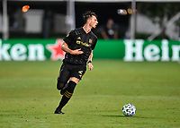 LAKE BUENA VISTA, FL - JULY 18: Tristan Blackmon 27 of LAFC looks for options during a game between Los Angeles Galaxy and Los Angeles FC at ESPN Wide World of Sports on July 18, 2020 in Lake Buena Vista, Florida.