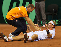 13-sept.-2013,Netherlands, Groningen,  Martini Plaza, Tennis, DavisCup Netherlands-Austria, second rubber, Thiemo de Bakker (NED)  def Melzer, Netherlands lead 2-0<br /> Photo: Henk Koster