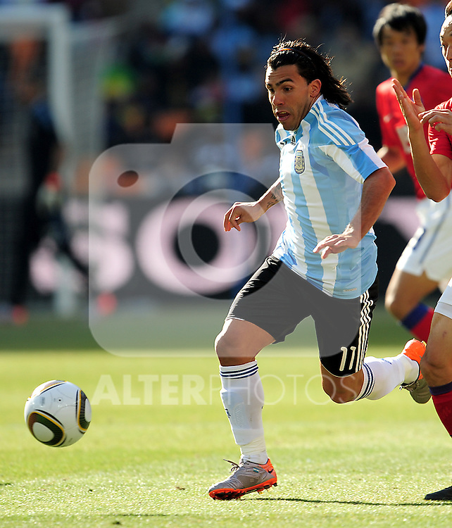 11 Carlos TEVEZ during the 2010 World Cup Soccer match between Argentina vs Korea Republic played at Soccer City in Johannesburg, South Africa on 17 June 2010.