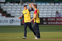 Jimmy Neesham of Essex celebrates taking the wicket of Joe Weatherley during Essex Eagles vs Hampshire Hawks, Vitality Blast T20 Cricket at The Cloudfm County Ground on 11th June 2021