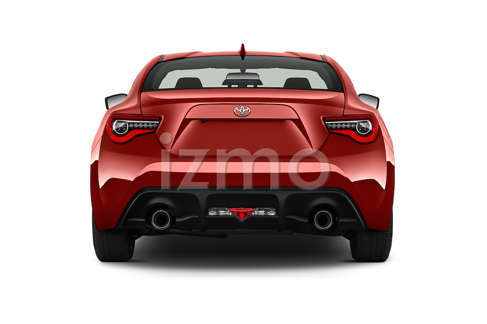 Straight rear view of 2018 Toyota 86 Automatic 2 Door Coupe Rear View  stock images