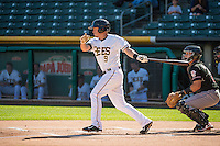 Alex Yarbrough (9) of the Salt Lake Bees at bat against the Albuquerque Isotopes in Pacific Coast League action at Smith's Ballpark on June 8, 2015 in Salt Lake City, Utah.  The Bees defeated the Isotopes 10-7 in game one of a double-header.(Stephen Smith/Four Seam Images)
