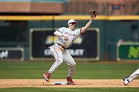 Conor McKenna (5) of the Oklahoma Sooners catches a throw at second base during the game against the Missouri Tigers in game four of the 2020 Shriners Hospitals for Children College Classic at Minute Maid Park on February 29, 2020 in Houston, Texas. The Tigers defeated the Sooners 8-7. (Brian Westerholt/Four Seam Images)