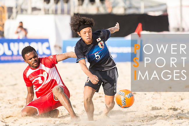 NAKAHARA Yuki of Japan competes for the ball with AL SINANI Jalal Khamis Rebee'a of Oman during the Beach Soccer Men's Team Gold Medal Match between Japan and Oman on Day Nine of the 5th Asian Beach Games 2016 at Bien Dong Park on 02 October 2016, in Danang, Vietnam. Photo by Marcio Machado / Power Sport Images