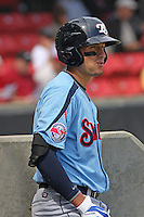 Ryan Flaherty #6 of the Tennessee Smokies in the dugout preparing to hit during a game against the Carolina Mudcats on April 20, 2010 in Zebulon, NC.