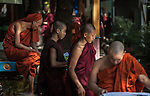 18 JUNE 2015, Mandalay, Myanmar:  Monks relaxing outside 969 activist Monk Wirathu's quarters in the Masoeyein Monastery in Mandalay, Myanmar. Picture Graham Crouch/The Australian Magazine