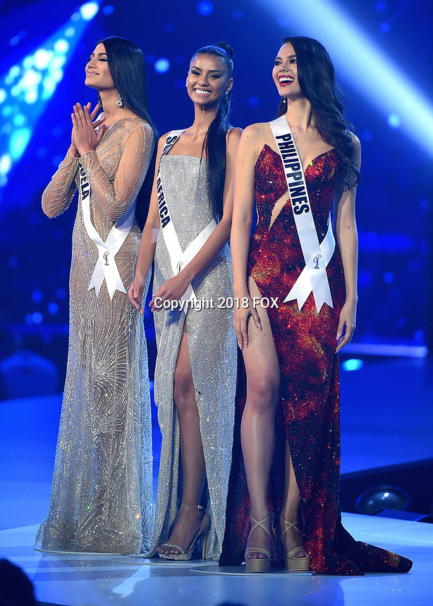 BANGKOK, THAILAND - DECEMBER 17:  Miss Venezuela Sthefany Gutierrez, Miss South Africa Tamaryn Green and Miss Philippines Catriona Gray  onstage on the 2018 MISS UNIVERSE competition at the Impact Arena in Bangkok, Thailand on December 17, 2018. (Photo by Frank Micelotta/FOX/PictureGroup)