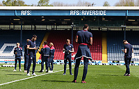 Bolton Wanderers players inspecting the pitch before the match<br /> <br /> Photographer Andrew Kearns/CameraSport<br /> <br /> The EFL Sky Bet Championship - Blackburn Rovers v Bolton Wanderers - Monday 22nd April 2019 - Ewood Park - Blackburn<br /> <br /> World Copyright © 2019 CameraSport. All rights reserved. 43 Linden Ave. Countesthorpe. Leicester. England. LE8 5PG - Tel: +44 (0) 116 277 4147 - admin@camerasport.com - www.camerasport.com