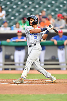 Pensacola Blue Wahoos center fielder Jose Siri (22) swings at a pitch during a game against the Tennessee Smokies at Smokies Stadium on August 30, 2018 in Kodak, Tennessee. The Blue Wahoos defeated the Smokies 5-1. (Tony Farlow/Four Seam Images)