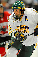 14 November 2008: University of Vermont Catamount forward Corey Carlson, a Senior from Two Harbors, MN, in action against the Northeastern University Huskies at Gutterson Fieldhouse in Burlington, Vermont. The Catamounts fell to the Huskies 5-3...Mandatory Photo Credit: Ed Wolfstein Photo