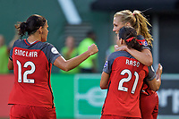 Portland, OR - Saturday July 22, 2017: Allie Long, Christine Sinclair, Hayley Raso celebrate during a regular season National Women's Soccer League (NWSL) match between the Portland Thorns FC and the Washington Spirit at Providence Park.