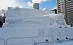 €A snow sculpture of 'H5 series, Hokkaido Shinkansen' is seen at Odori Park in Sapporo, Hokkaido, Japan on February 5, 2016. (Photo by AFLO)